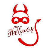 Lettering Happy Halloween and red mask with horns and tail of the demon isolated on white background, illustration.
