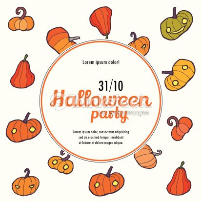 Halloween Vector Invitation Template With Pumpkin Art