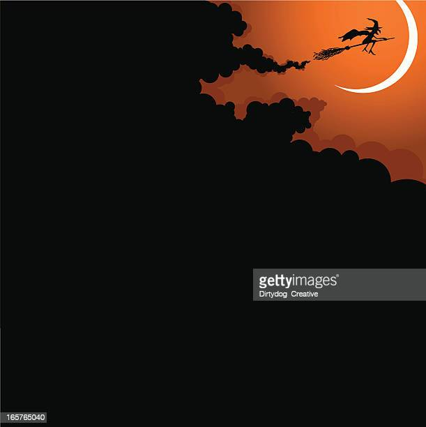 Sorcière Halloween voler sur broomstick & moon
