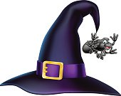 An illustration of a cartoon Halloween witch hat and cartoon spider
