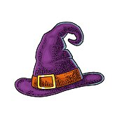 Halloween witch hat with buckle. Vector black vintage engraving illustration. Isolated on white background