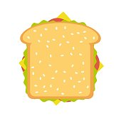 Ham and vegetable sandwich. Stock flat vector illustration.