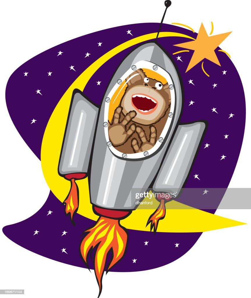 Ham, the Space Chimp Cartoon Rocketship : Arte vetorial
