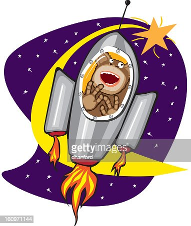 Ham, the Space Chimp Cartoon Rocketship : Vektorgrafik