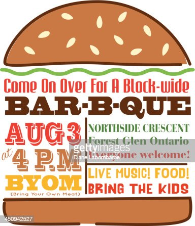 Hamburger Bbq Invitation Template Vector Art | Getty Images