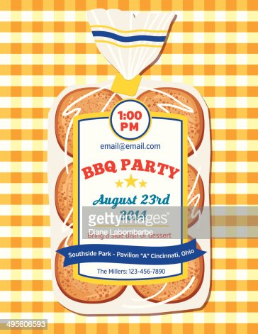 Hamburger Buns Bbq Invitation Template Vector Art | Getty Images
