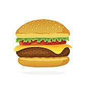 Vector illustration in flat style. Hamburger with cheese, tomato and salad. Unhealthy food. Sticker in cartoon style with contour. Decoration for patches, prints for clothes, badges, posters, emblems,