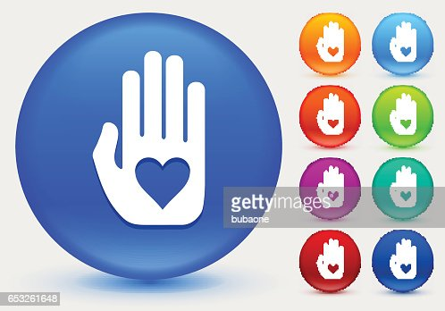Hand and Heart Icon on Shiny Color Circle Buttons : Vector Art