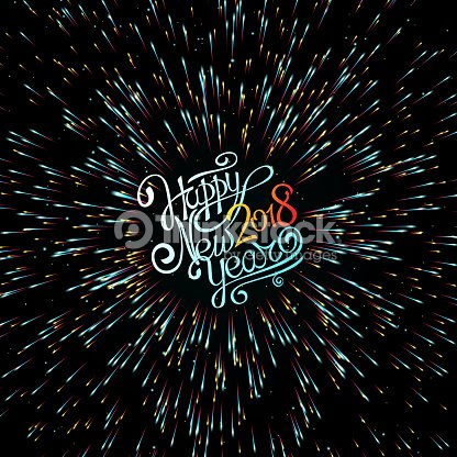 dark background happy new year 2018 christmas fireworks