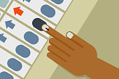 Hand casts vote in an Electronic voting machine