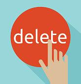 Hand click on delete button