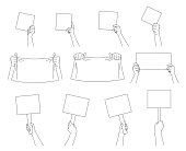 Hand collection. Hands holding signs, posters and blanks. Different hand gestures.  Isolated  contour. Vector