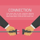 Hands connecting electrical plug. Business connection concept. Partnership. Two hands trying to connect electric plug together. Vector illustration in flat style.