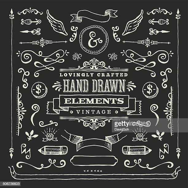 Hand Dawn Blackboard Design Elements