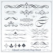 Collection of calligraphic hand draw design elements. Each element are made with very smooth curves, no glitch, using the minimum set of anchor points. Most of them are made with full lines, no cuts,