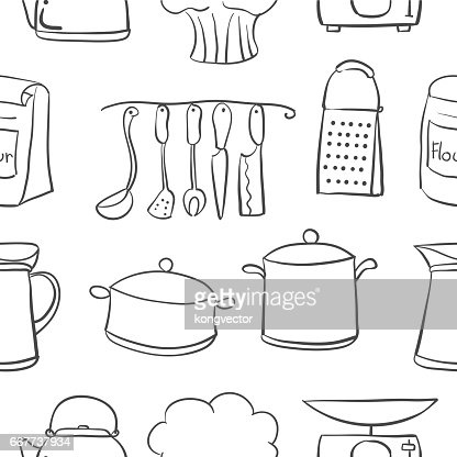 Hand Draw Kitchen Object Doodle Style Vector Art Thinkstock