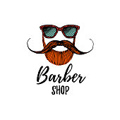 Vector Illustration. Hand draw logo for barber shop. Mustache and beard icon of hipster, biker or viking, spanish, mexican man.