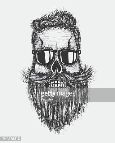 Hand Draw Retro Grunge Hipster Skull Hair Mustashe Beard Artwork