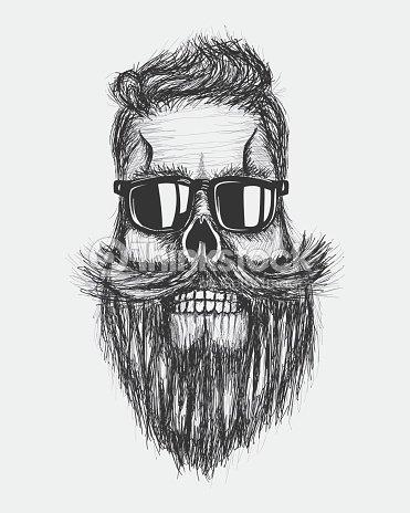 Mão desenhar moderno retro grunge crânio, cabelo, barba mustashe desenho    Arte vetorial 28292c3915