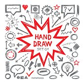 Hand draw sketch vector illustrations. Arrows, objects, balloons and other design elements. Hand draw infographic elements - vector set. Hand draw design elements collection.