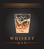 Whiskey in glass. Vector illustration.