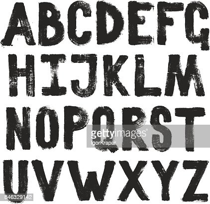 Hand drawing brush calligraphy texture of alphabet letters. Isolated vector set : stock vector