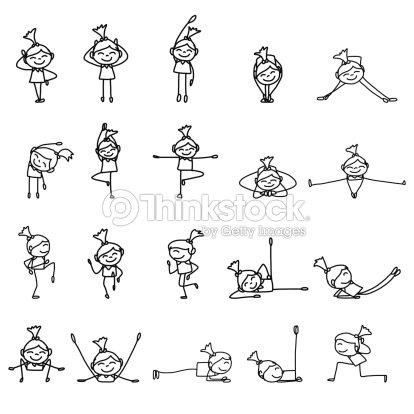 Personnage De Dessin Anime De Dessin A Main Femme Pratiquant Le Yoga