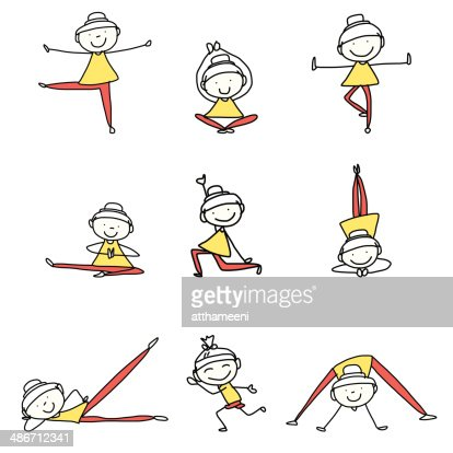Handzeichnung Cartoon Glückliche Menschen Yoga Praktizieren ...