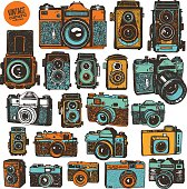 Hand drawing colorful retro photo cameras.  Big isolated vector illustration set