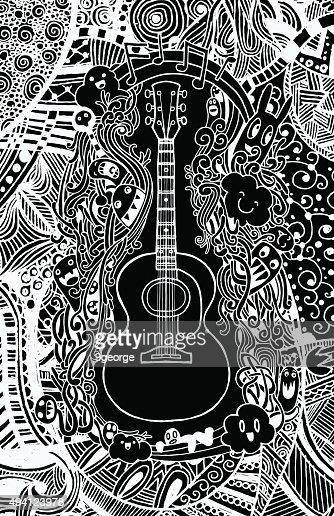 Hand Drawing Doodle Acoustic Guitarflat Design Vector Art Thinkstock