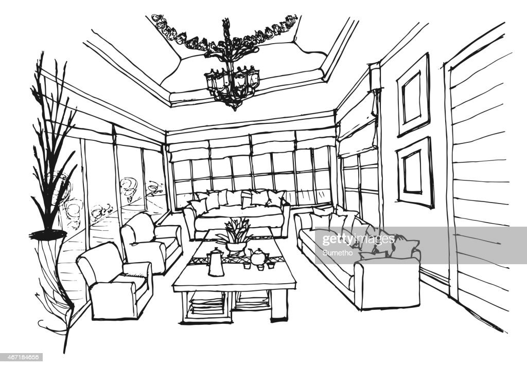Hand Drawing Interior Design For Living Room On White Background : Vector  Art