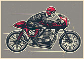 vector of hand drawing man riding a cafe racer
