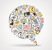 doodles social media network. Concept Internet comunications.