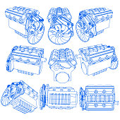 Hand drawing of engine on blue pen striped line pattern. Vector style.