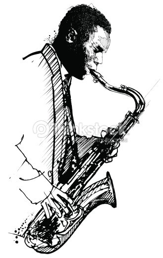 Hand drawing saxophonist on a white background vector art - Dessin saxophone ...