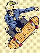 vector of hand drawing style skull play skateboarding