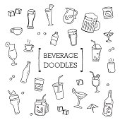 Several cute Beverage in Hand drawing styles.Doodles of Beverage.