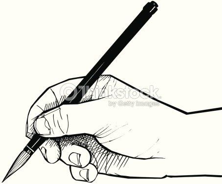 Dessin de la main avec un pinceau chinois clipart - Main dessin crayon ...