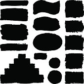 Hand drawn abstract black paint brush strokes. Vector set collection of shapes isolated on white background. Round, oval, ellipse, pyramid, circle, rectangle elements for design.