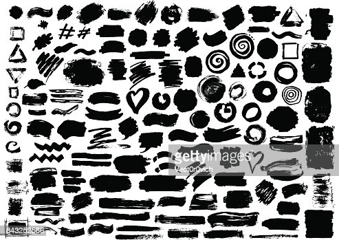 hand drawn abstract grunge paint dry brush ink watercolor marker strokes : stock vector