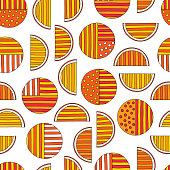 Hand drawn abstract oranges seamless pattern. Vector colorful background in modern style. Striped funny texture for surface designs, textiles, wrapping papers, wallpapers, phone case prints, fabrics.