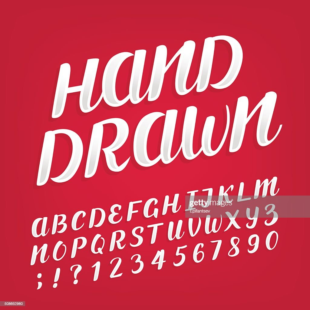 Hand drawn alphabet vector font. : Vector Art
