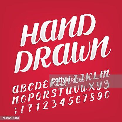Hand drawn alphabet vector font. : Vector Art