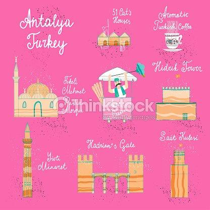 Main A Attir Antalya Carte De Dessin Anim Concept Postale Avec Les Endroits Plus Intressants Pour La Visite