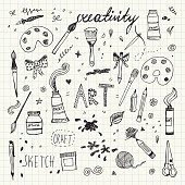 Hand drawn Art and Craft vector symbols and objects. Vector Illustration EPS10, Ai10, PDF, High-Res JPEG included. Pencil drawing doodles set