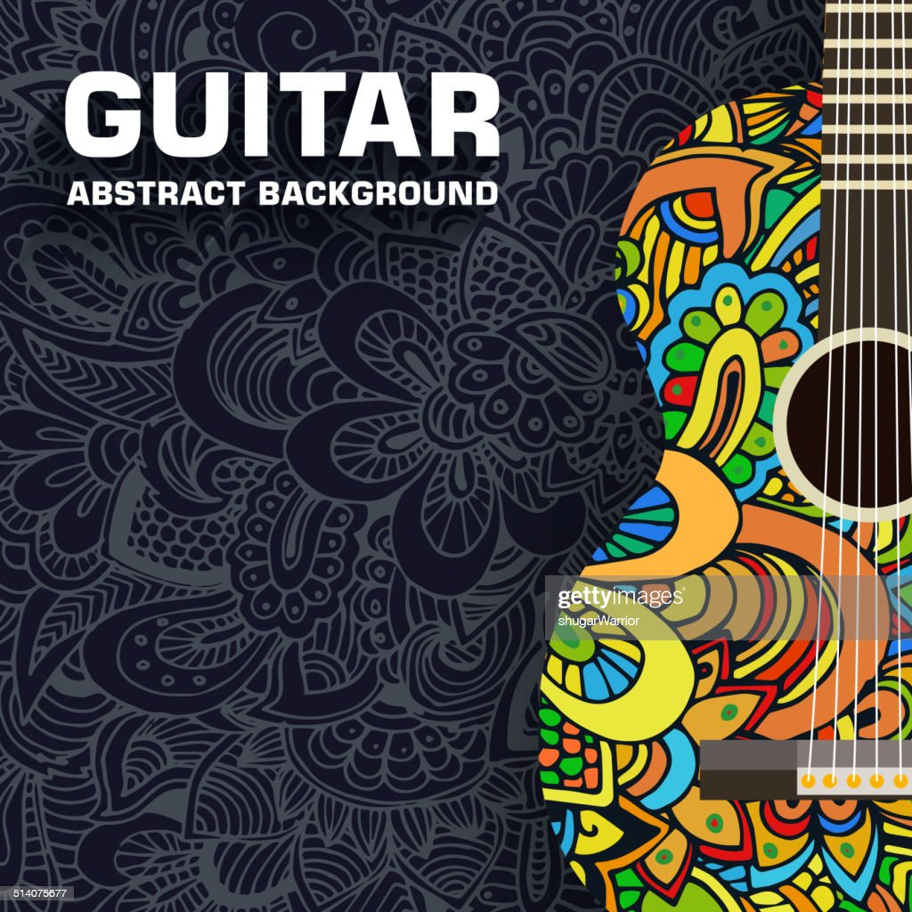 Hand drawn art musical classic guitar abstract background ornament concept