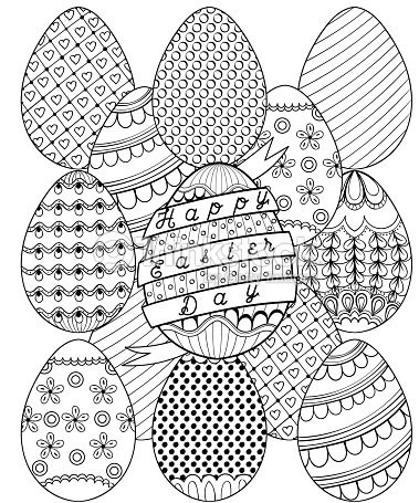 Hand Drawn Artistic Easter Eggs Pattern For Adult Coloring Page Vector Art