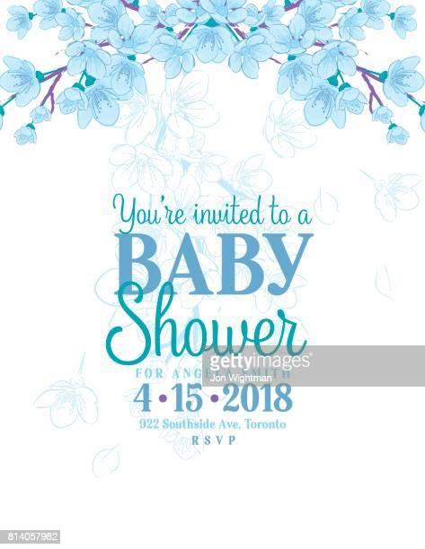 Hand drawn baby shower invitation with cherry blossom vector art hand drawn baby shower invitation with cherry blossom vector art getty images filmwisefo