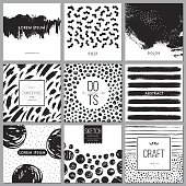 Set of universal cards. Hand drawn cards with abstract grunge textures. Use for printed materials, cards, invitations, greeting cards, covers, placards, posters, postcards, brochures and flyers. Good