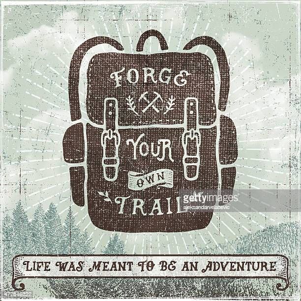 Hand Drawn Backpack,Hiking,Camping Sign